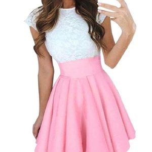 FeiTong Pink and White Dress
